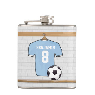 Personalised Light Blue Football Soccer Jersey Hip Flask