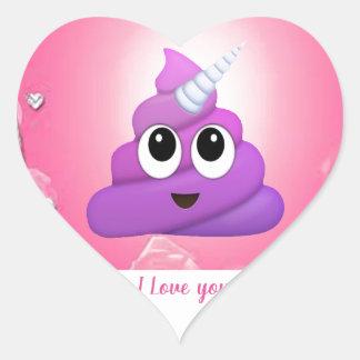 Personalised Magical Unicorn Poop Emoji Heart Sticker