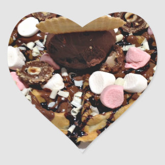 Personalised Marshmallow and Chocolate Cake Heart Sticker