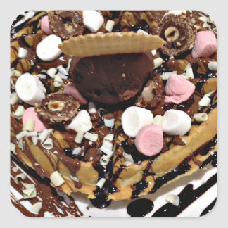 Personalised Marshmallow and Chocolate Cake Square Sticker