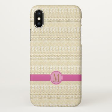 Personalised modern gold aztec design iPhone x case
