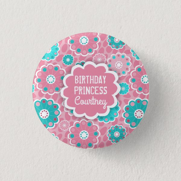 Personalised modern pink and aqua floral pinback button