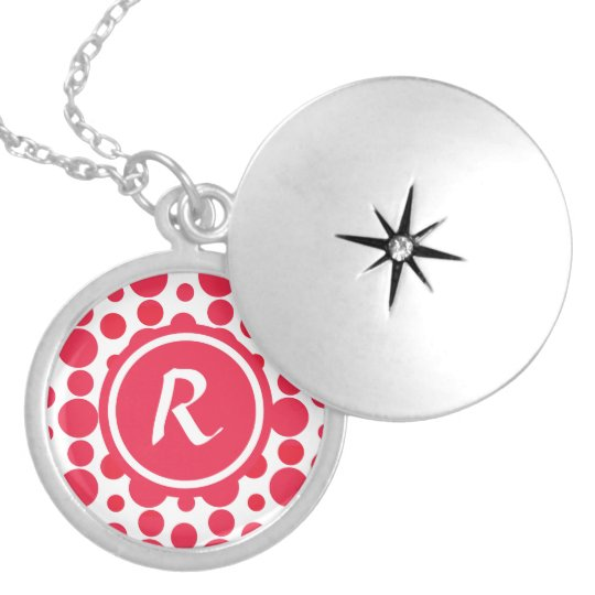 Personalised Monogram red dots pattern Locket Necklace