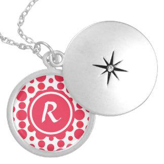 Personalised Monogram red dots pattern Round Locket Necklace