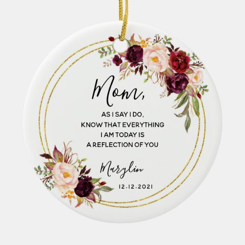 Personalised Mother of the Bride Marsala Floral Ceramic Ornament