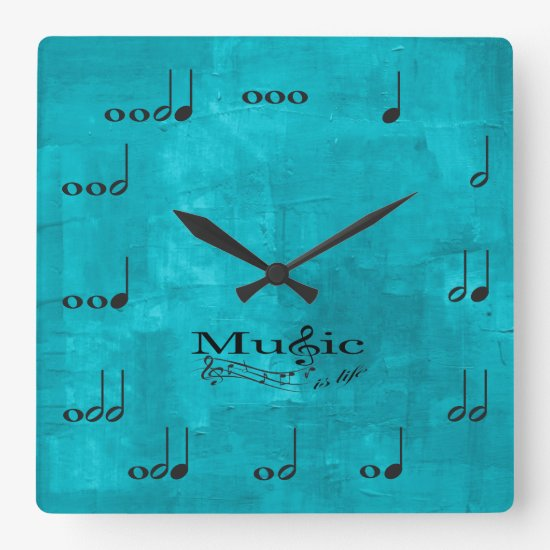 Personalised Music Notes - Music is Life Square Wall Clock