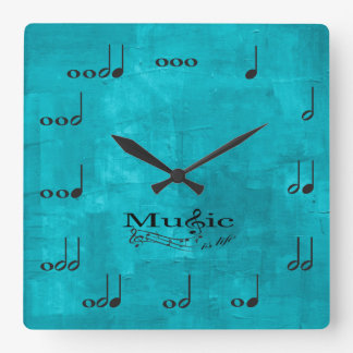Personalised Music Notes - Music is Life Square Wallclock