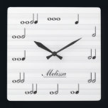 """Personalised Music Notes Square Wall Clock<br><div class=""""desc"""">Personalized music note wall clock.  Each note represents a beat in numerical value.  Add your name to customize the clock and make it unique!  White background.    Custom color request accepted.  Click the ask the designer link below to send me a message.</div>"""