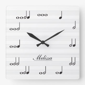 Personalised Music Notes Square Wall Clocks