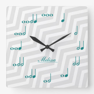 Personalised Music Notes - teal blue and grey Square Wallclocks