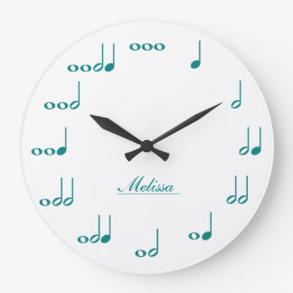 Personalised Music Notes - teal blue Large Clock