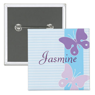 Personalised Name Badge - Butterflies 2 Inch Square Button