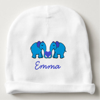 Personalised Name Blue Elephants Holding Hearts Baby Beanie