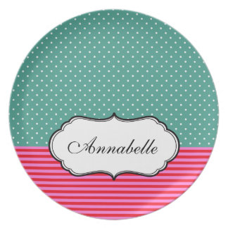 Personalised Name Girly Polka Dots Stripes Pattern Plate