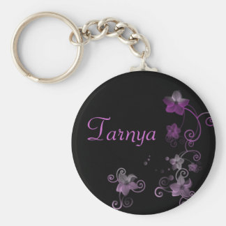 Personalised Name Keyring - Purple Flowers Keychain