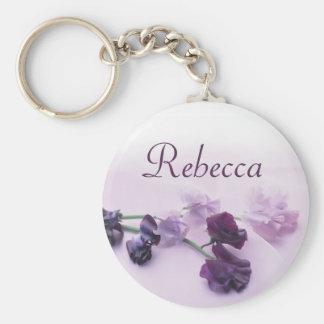 Personalised Name Keyring - Purple Flowers Key Chain