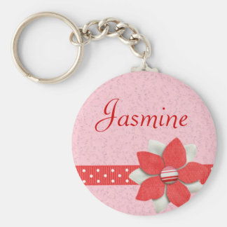 Personalised Name Keyring - Red ribbon and flower Keychains