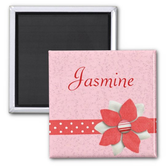 Personalised Name Magnet - Red ribbon and flower