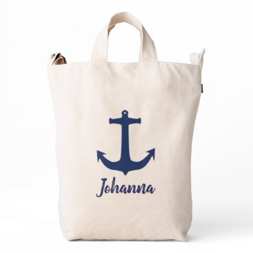 Beach Themed Personalised Navy Nautical Anchor Tote Bag