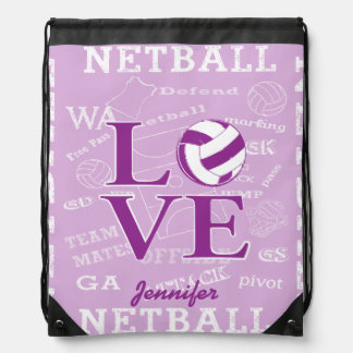 Personalised Netball Drawstring Backpack