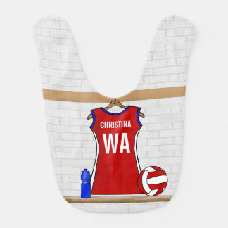 Personalised Netball uniform Baby Bib
