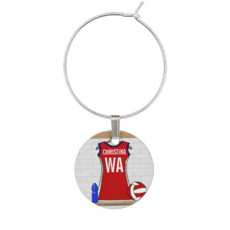 Personalised Netball uniform Wine Glass Charm