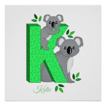 Personalised nursery poster - K for Koala
