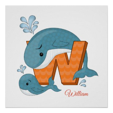 Art Themed Personalised nursery poster - W for Whale
