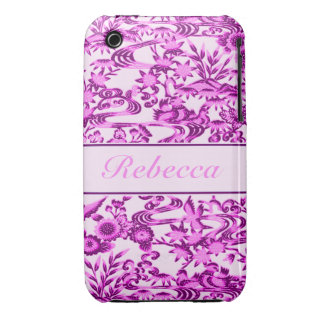 Personalised oriental Bird and leaves pattern iPhone 3 Case