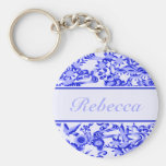 Personalised oriental Bird and leaves pattern Keychain