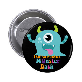 Personalised Party Badge - Blue Monster Pinback Button