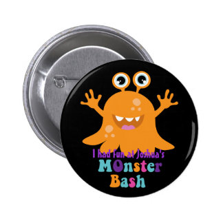 Personalised Party Badge - Orange Monster 2 Inch Round Button