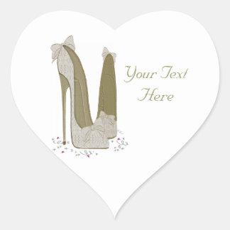 Personalised Party Stiletto Shoe Art Heart Sticker
