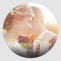 Personalised Photo Gold Script Thank You Classic Round Sticker