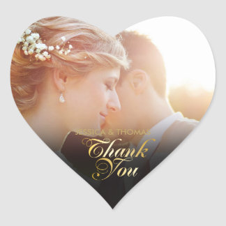 Personalised Photo Gold Script Thank You Heart Sticker