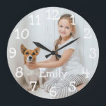"Personalised Photo Name Large Clock<br><div class=""desc"">Perfect for nurseries,  bedrooms or any room in your home. A fun design which you can personalise with a loved one's name and photo to create a unique gift. Designed by Thisisnotme©</div>"