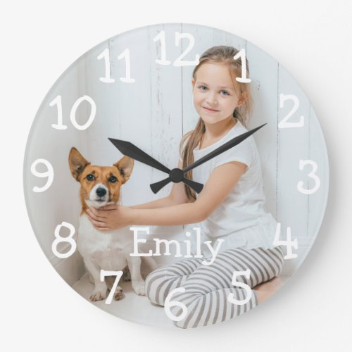 Personalised Photo Name Large Clock
