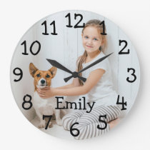 Personalised Photo Name Large Clock