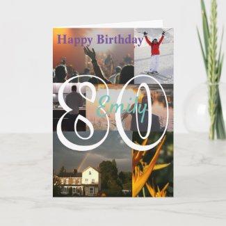 Personalised Photo Upload 80th Birthday Card