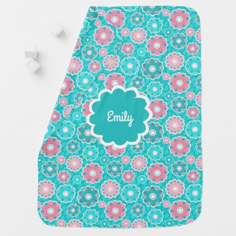 Personalised pink and aqua baby girl stroller blanket