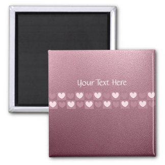 Personalised Pink Hearts Pin 2 Inch Square Magnet