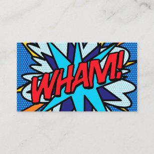 Comic business cards templates zazzle personalised pop art comic book wham business card colourmoves