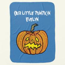 Personalised Pumpkin Halloween Baby Blanket