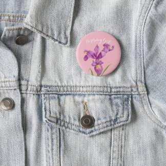 Personalised Purple Iris Botanical Floral Badge Pinback Button