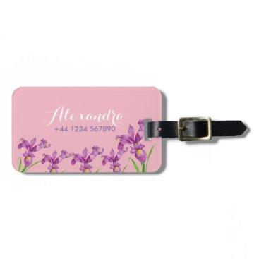 Professional Business Personalised Purple Iris Luggage Tag