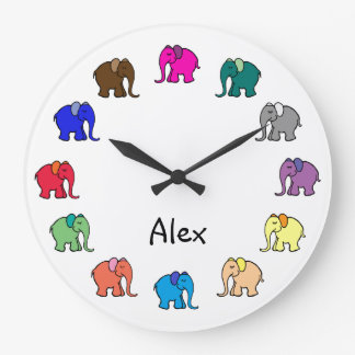 Personalised Rainbow Colored Cute Elephants Parade Large Clock