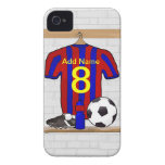 Personalised Red and blue football soccer Jersey Case-Mate iPhone 4 Cases