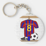 Personalised Red and blue football soccer Jersey Key Chains