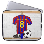 Personalised Red and blue football soccer Jersey Laptop Computer Sleeve