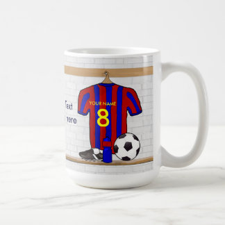 Personalised Red and blue football soccer Jersey Mug